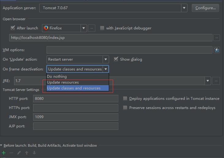 idea修改代码后进行updata,不需要重启服务器。